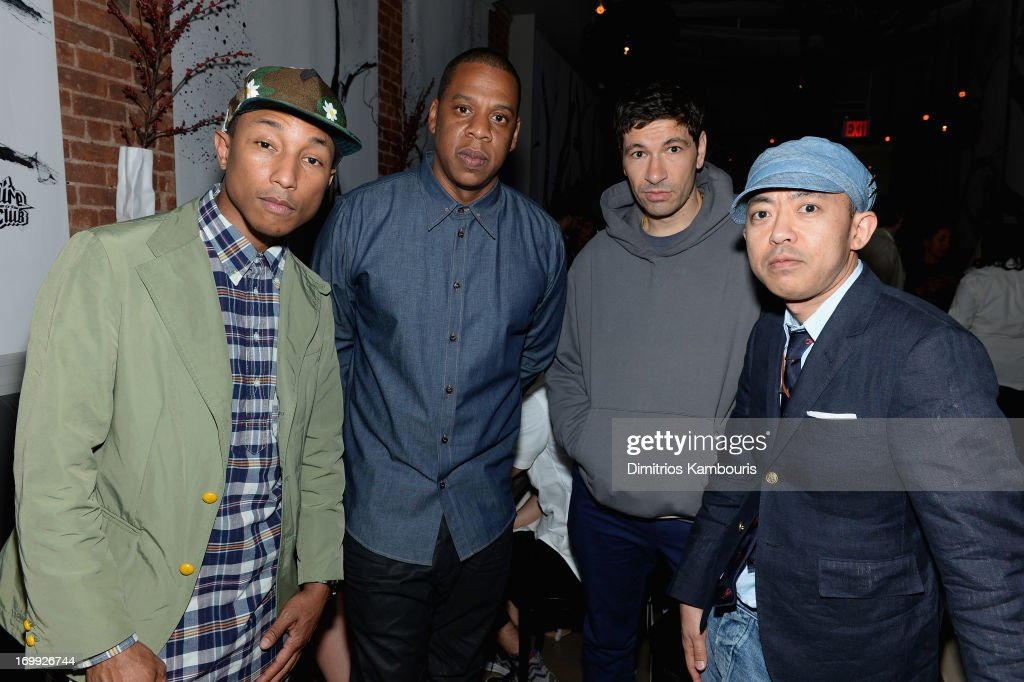 Pharrell Williams, Jay-Z and Nigo attend the 10th anniversary party of Billionaire Boys Club presented by HTC at Tribeca Canvas on June 4, 2013 in New York City.