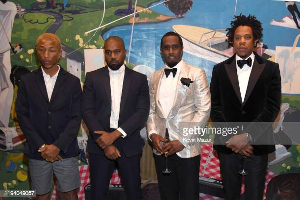 Pharrell Williams, Kanye West, Sean Combs, and Jay-Z attend Sean Combs 50th Birthday Bash presented by Ciroc Vodka on December 14, 2019 in Los...