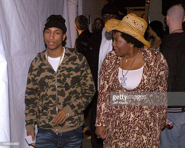 Pharrell Williams of NERD and Jehmu Greene president of Rock The Vote