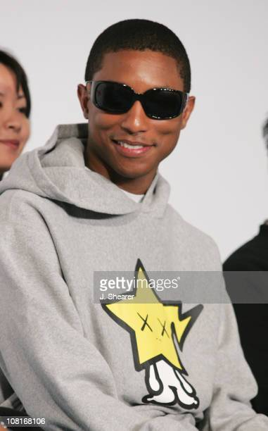 Pharrell Williams of NERD during Coach Presents Play for Peace Charity Concert Featuring Mandy Moore NERD and Mika Nakashima Press Conference at...