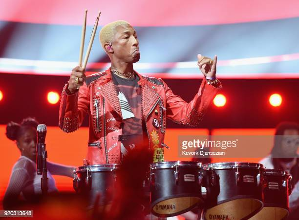 Pharrell Williams of NERD perform at halftime of the NBA AllStar Game 2018 at Staples Center on February 18 2018 in Los Angeles California
