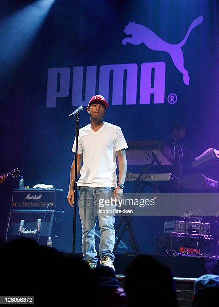 Pharrell Williams of NERD performs as PUMA and Undefeated celebrate the next chapter of the PUMA Clyde at House of Blues Las Vegas on February 14...