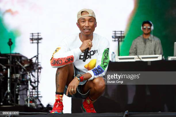 Pharrell Williams of NERD performs at Lovebox festival at Gunnersbury Park on July 14 2018 in London England