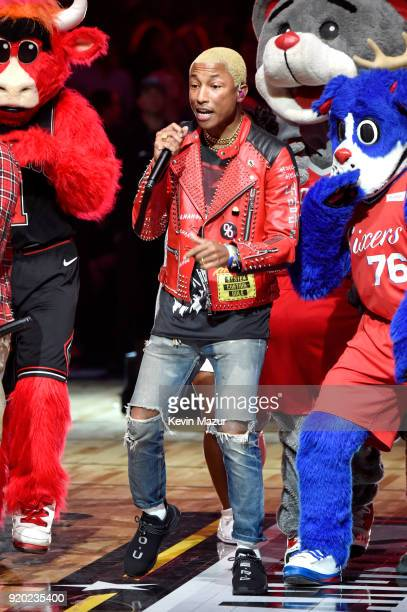 Pharrell Williams of NERD performs during halftime at the 67th NBA AllStar Game Team LeBron Vs Team Stephen at Staples Center on February 18 2018 in...