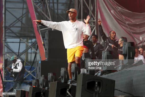 Pharrell Williams of NERD performs on day 3 of the Governors Ball music festival at Randall's Island Park on June 3 2018 in New York