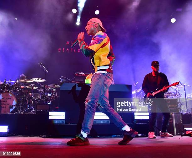 Pharrell Williams of N.E.R.D performs onstage during adidas Creates 747 Warehouse St., an event in basketball culture, on February 16, 2018 in Los...