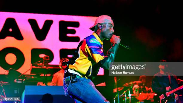 Pharrell Williams of NERD performs onstage during adidas Creates 747 Warehouse St an event in basketball culture on February 16 2018 in Los Angeles...