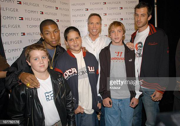 Pharrell Williams of NERD Tommy Hilfiger and Mark Ronson with Tommy Hilfiger's sons
