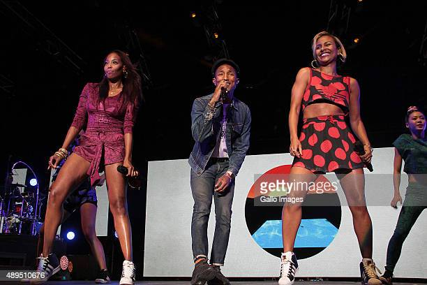 Pharrell Williams performs at the GrandWest casino on September 21 2015 in Cape Town South Africa The concert forms part of Woolworths' partnership...