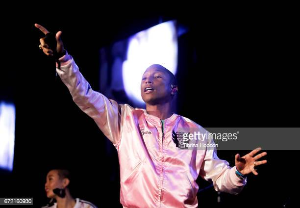 Pharrell Williams performs at the Humane Society's annual 'To The Rescue' Gala on April 22 2017 in Los Angeles California
