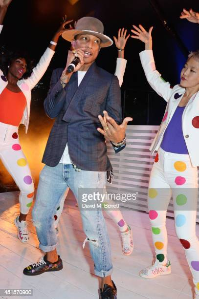 Pharrell Williams performs at The Serpentine Gallery Summer Party cohosted by Brioni at The Serpentine Gallery on July 1 2014 in London England