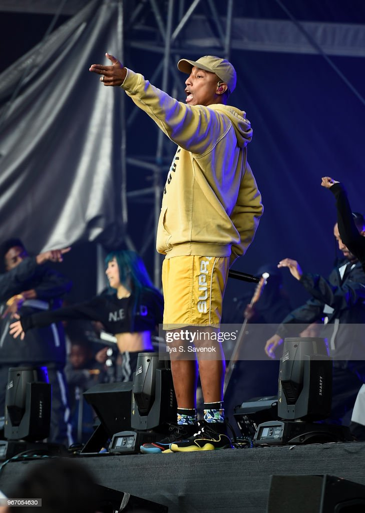 Pharrell Williams performs during 2018 Governors Ball Music Festival - Day 3 on June 3, 2018 in New York City.