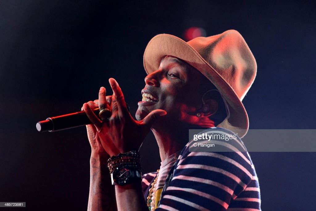 Pharrell Williams performs during the 2014 Coachella Valley Music And Arts Festival at The Empire Polo Club on April 19, 2014 in Indio, California.