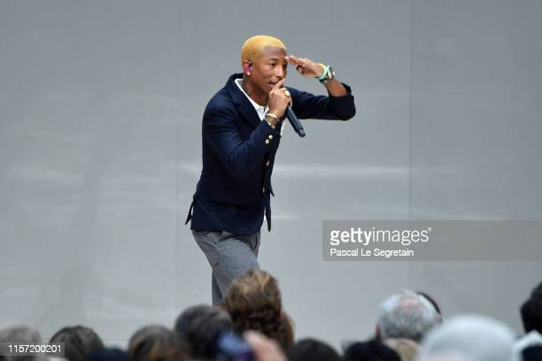 Pharrell Williams performs during the Karl Lagerfeld Homage at Grand Palais on June 20 2019 in Paris France