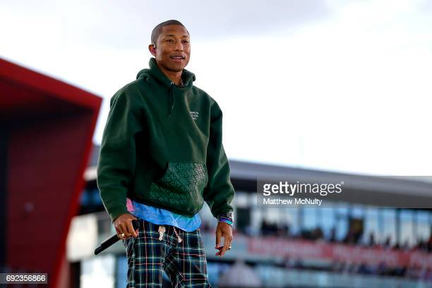 Pharrell Williams performs during the One Love Manchester concert at Old Trafford Cricket Ground Cricket Club on June 4 2017 in Manchester England