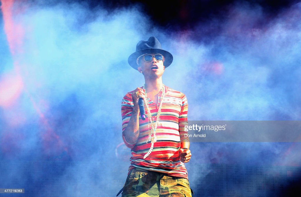Pharrell Williams performs live for fans as part of the 2014 Future Music Festival at Royal Randwick Racecourse on March 8, 2014 in Sydney, Australia.
