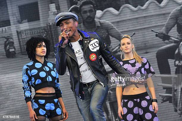 Pharrell Williams performs live on the Pyramid stage during the second day of Glastonbury Festival at Worthy Farm, Pilton on June 27, 2015 in...