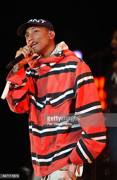 Pharrell Williams performs on stage at Moon and Stars Festival on July 13 2016 in Locarno Switzerland
