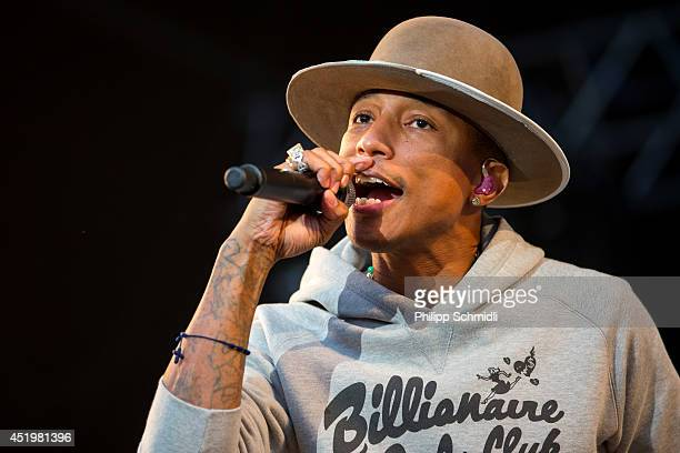 Pharrell Williams performs on stage at Openair Frauenfeld on July 10 2014 in Frauenfeld Switzerland