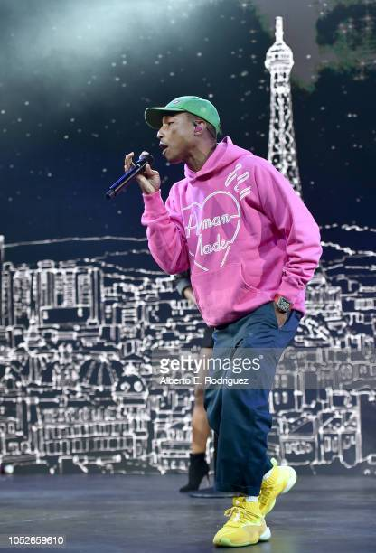 Pharrell Williams performs onstage at the 2018 Children's Hospital Los Angeles From Paris With Love Gala at LA Live on October 20 2018 in Los Angeles...