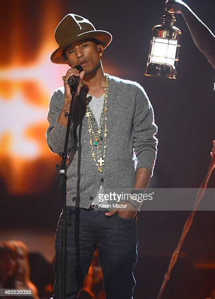 Pharrell Williams performs onstage at The Night That Changed America A GRAMMY Salute To The Beatles at Los Angeles Convention Center on January 27...