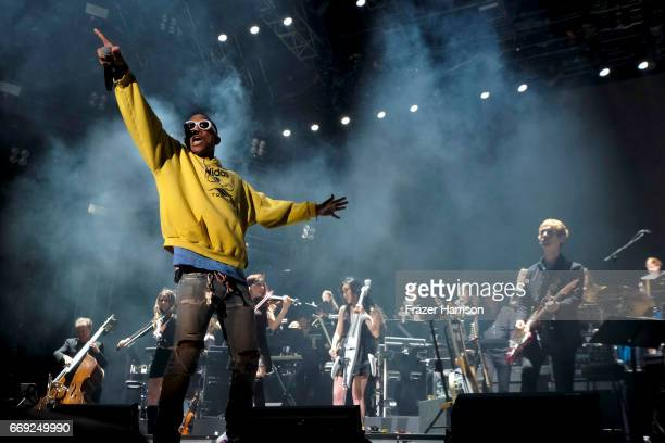 Pharrell Williams performs with Hans Zimmer onstage with Hans Zimmer at the Outdoor Theatre during day 3 of the Coachella Valley Music And Arts...