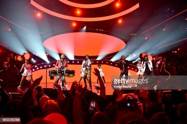 Pharrell Williams Quavo Offset and Takeoff of Migos perform during halftime at the 67th NBA AllStar Game Team LeBron Vs Team Stephen at Staples...