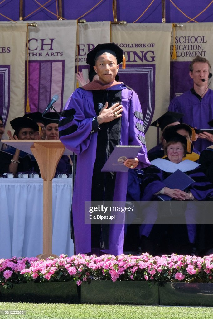 Pharrell Williams receives an honorary doctorate degree during the New York University 2017 Commencement at Yankee Stadium on May 17, 2017 in the Bronx borough of New York City.