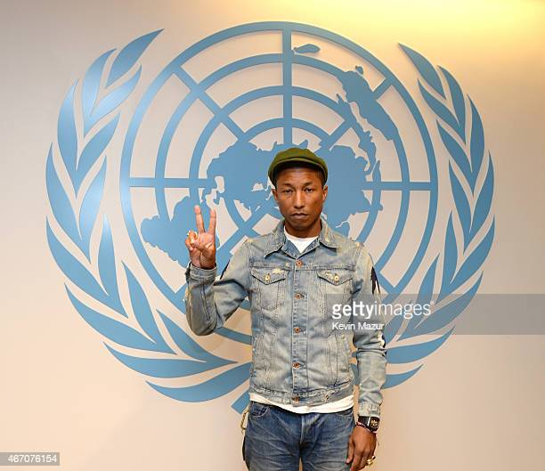 Pharrell Williams speaks at the United Nations' General Assembly in celebration of International Day of Happiness on March 20 2015 in New York City