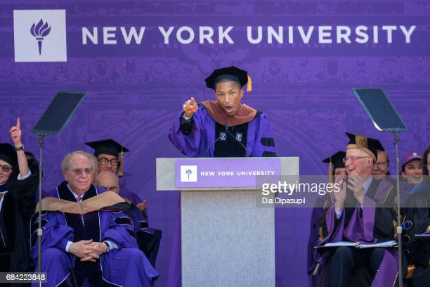 Pharrell Williams speaks during the New York University 2017 Commencement at Yankee Stadium on May 17 2017 in the Bronx borough of New York City