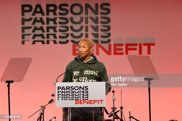 Pharrell Williams speaks on stage at the 71st Annual Parsons Benefit honoring Pharrell, Everlane, StitchFix & The RealReal on May 20, 2019 in New...