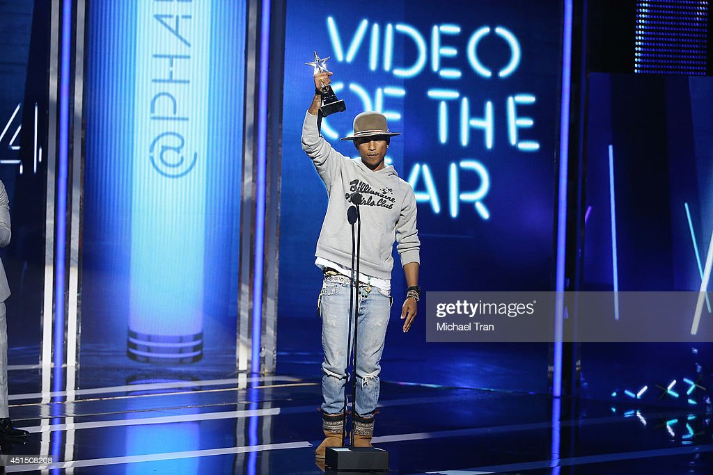 Pharrell Williams speaks onstage during the 'BET AWARDS' 14 held at Nokia Theater L.A. LIVE on June 29, 2014 in Los Angeles, California.