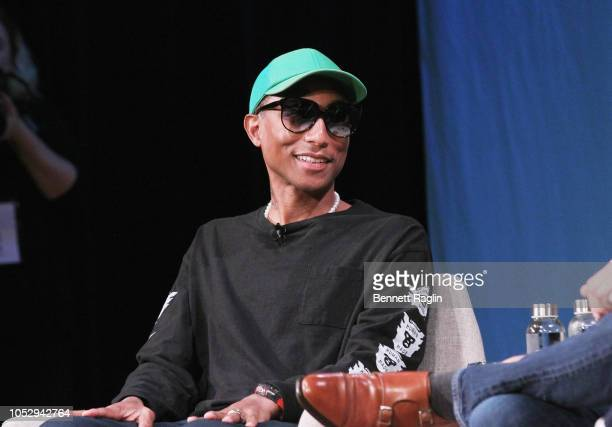 Pharrell Williams speaks onstage for Pharrell Williams and Illumination's Chris Meledandri on Creativity and Collaboration during Day 2 of the Fast...