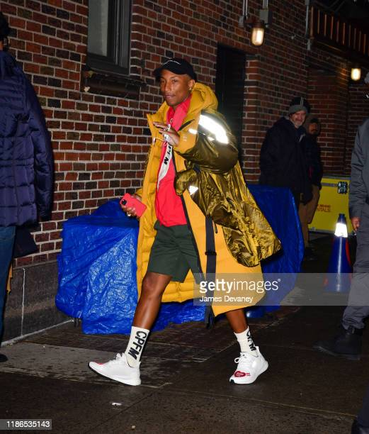 """Pharrell Williams visits """"The Late Show with Stephen Colbert"""" at the Ed Sullivan Theater on December 4, 2019 in New York City."""