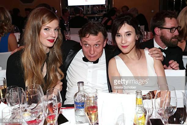 Pheline Roggan Oliver Masucci 'er ist wieder da' and Sibel Kekilli during the German Film Ball 2016 party at Hotel Bayerischer Hof on January 16 2016...