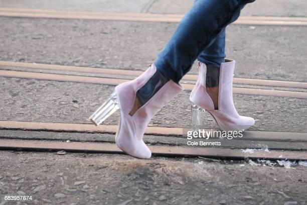 Pheobe Combes wears Lenni The Label outfit with Dolls Kill shoes during MercedesBenz Fashion Week Resort 18 Collections at Carriageworks on May 17...