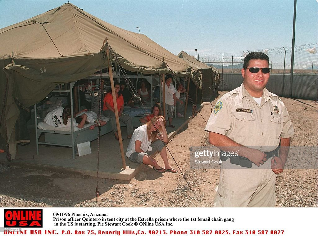 Pheonix Arizona. Prison officer Quitero in tent city at the Estrella prison where workers  sc 1 st  Getty Images & 09/11/96 Pheonix Arizona. Prison officer Quitero in tent city at ...