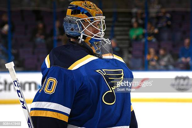 Pheonix Copley of the St Louis Blues looks on before a game against the San Jose Sharks at the Scottrade Center on February 4 2016 in St Louis...