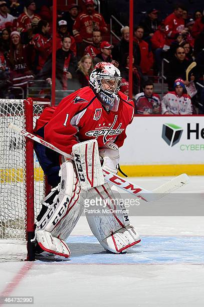 Pheonix Copley of the Washington Capitals warms up before the start of an NHL game against the Detroit Red Wings at Verizon Center on January 10 2015...