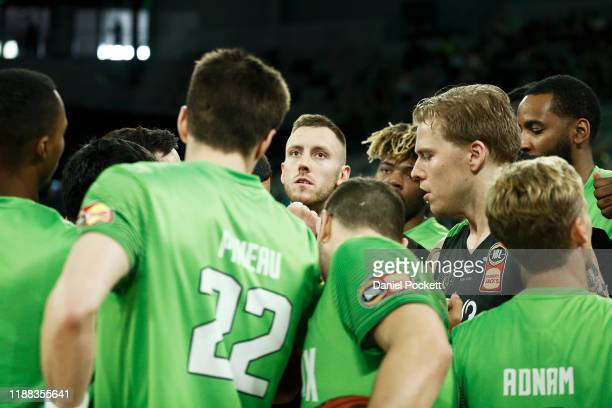 Pheonix players huddle ahead of the round seven NBL game between the South East Melbourne Phoenix and the Adelaide 36ers at Melbourne Arena on...