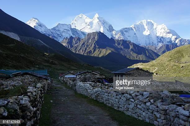 Pheriche village and Himalayan peaks
