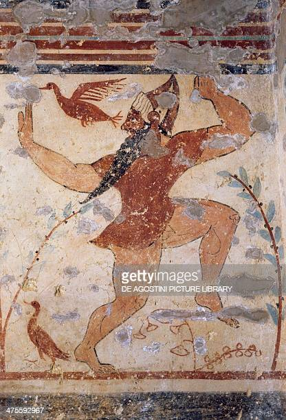 Phersu bearded male figure with mask fresco of the Tomb of the Augurs Necropolis of Tarquinia Lazio Italy Etruscan civilisation 6th century BC