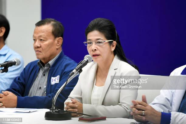 Pheu Thai party candidate for prime minister Sudarat Keyuraphan speaks during a press conference on March 24 2019 in Bangkok Thailand Around 50...