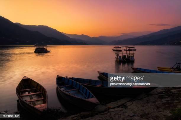 Phewa lake on twilight.