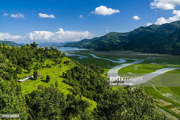 Phewa Lake Pokhara agricultural landscape and the meandering Harpan Khola river seen from a mountain ridge