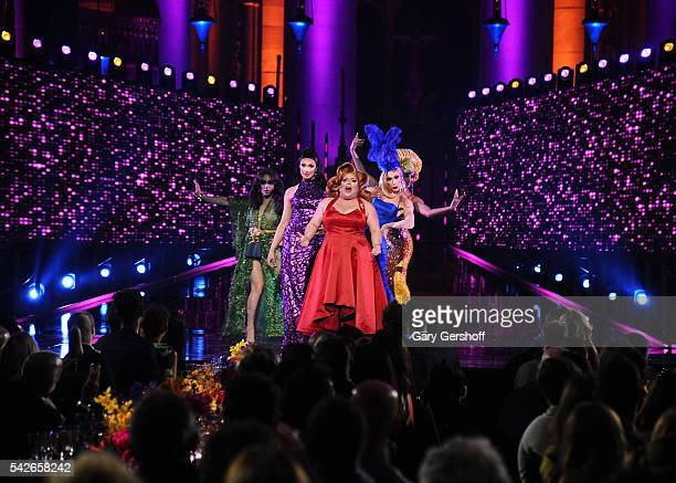 Phi Phi O'Hara Tatiana Ginger Minj Alaska Thunderfvck and Alyssa Edwards perform at the 2016 Logo's Trailblazer Honors at Cathedral of St John the...