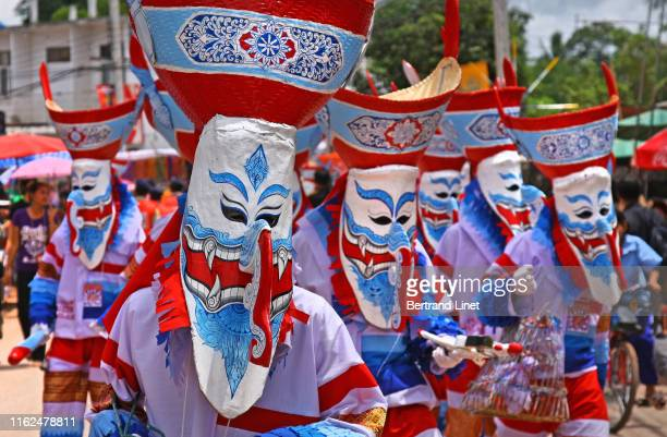 phi ta khon festival in thailand - religious event stock pictures, royalty-free photos & images