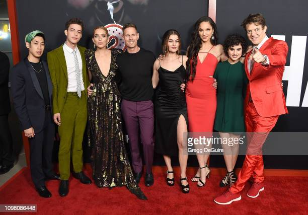 Phi Vu Israel Broussard Jessica Rothe Christopher Landon Rachel Matthews Ruby Modine Sarah Yarkin and Jason Blum attend Universal Pictures Special...