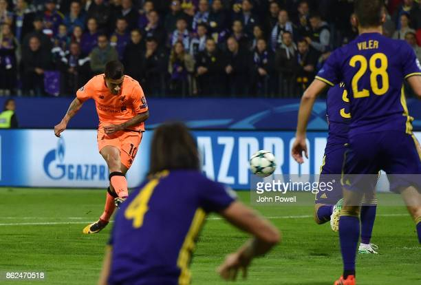 Phiippe Coutinho of Liverpool scores the second goal during the UEFA Champions League group E match between NK Maribor and Liverpool FC at Stadion...