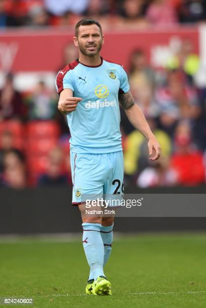 Phil Bardsley of Burnley gives instructions during the pre season friendly match between Nottingham Forest and Burnley at the City Ground on July 29...
